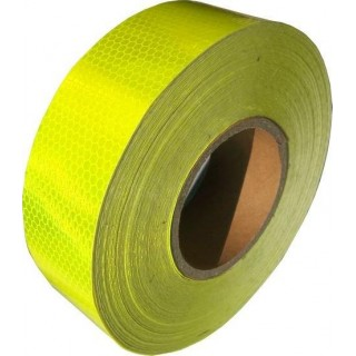 Yellow fluorescent and retro-reflective tape