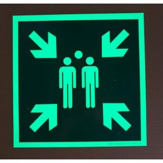 Photoluminescent Assembly Point Sign E007