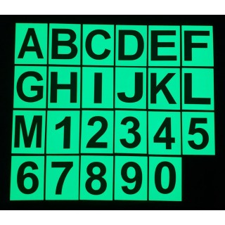 Phosphorescent PVC letters and numbers