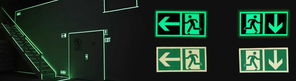 Glow exit sign